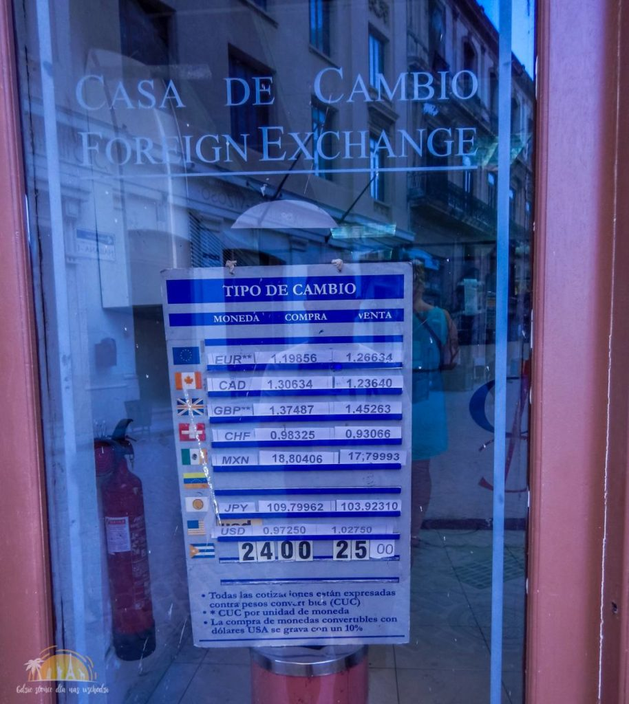 Kursy walut w kantorze w Habana Vieja