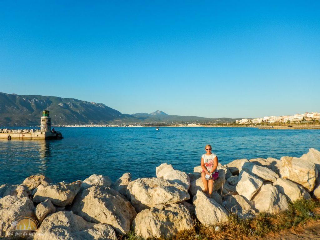Grecja Peloponez Zatoka Koryncka widok na Lutraki